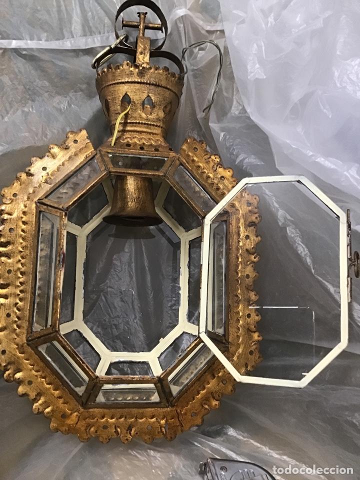 Antigüedades: Lámpara techo , metal sobre dorado. Antigua. - Foto 3 - 165467640
