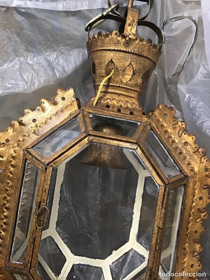 Antigüedades: Lámpara techo , metal sobre dorado. Antigua. - Foto 4 - 165467640
