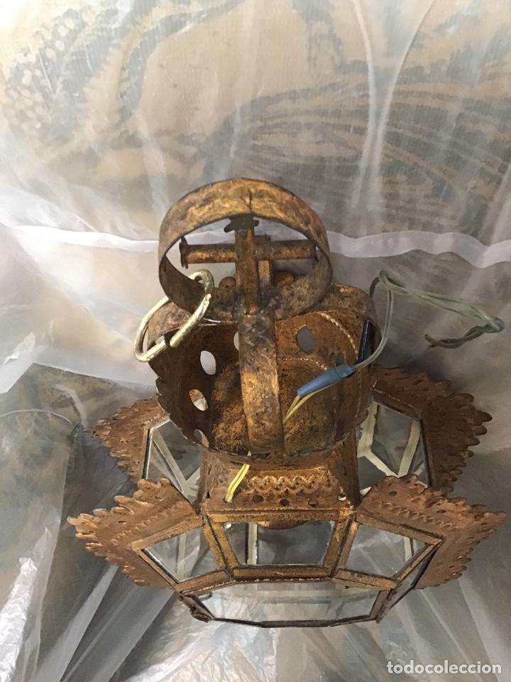 Antigüedades: Lámpara techo , metal sobre dorado. Antigua. - Foto 5 - 165467640