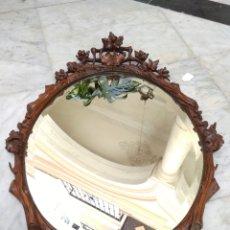 Antigüedades: ESPEJO MADERA TALLADA Y CRISTAL BISELADO SIGLO XIX. Lote 165472560