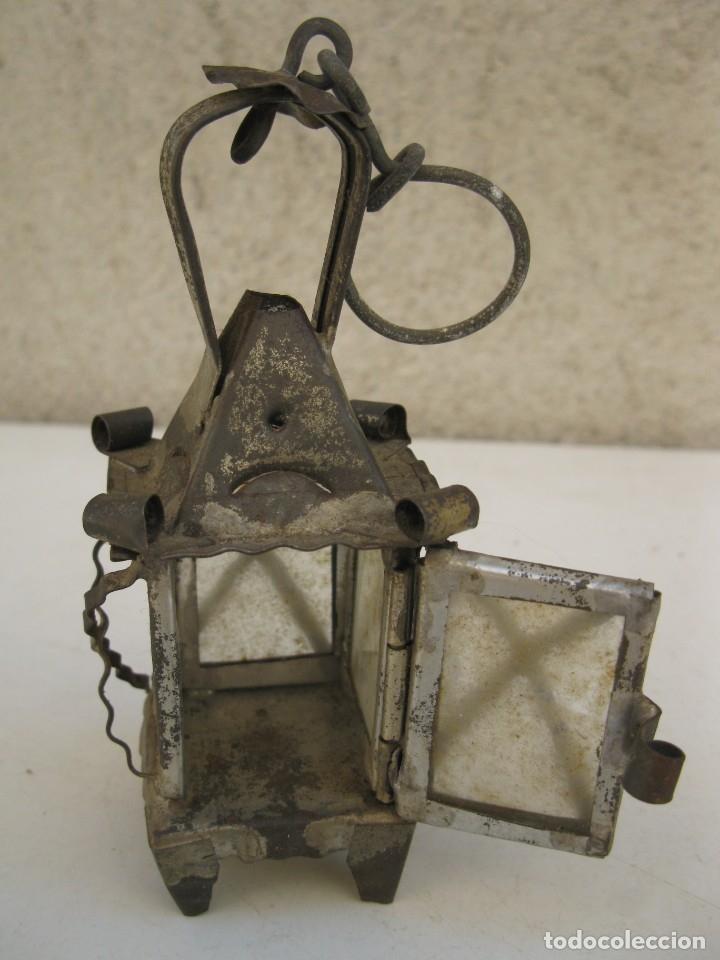 Antigüedades: ANTIGUO FAROLILLO DE HOJALATA EN MINIATURA. - Foto 5 - 165491938
