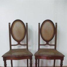 Antigüedades: PAREJA SILLAS ART DECO - MADERA DE CAOBA Y REJILLA - PRINCIPIOS S. XX. Lote 171569902