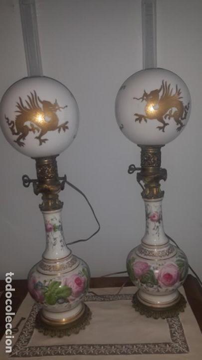 PAREJA DE QUINQUES (Antigüedades - Iluminación - Quinqués Antiguos)