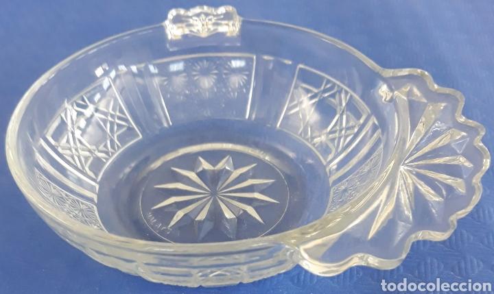 CUENCO CRISTAL KIG MALASIA CON ASA DE ALMEJA (Antigüedades - Cristal y Vidrio - Otros)