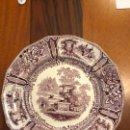 Antigüedades: EXCEPCIONAL PLATO REAL FABRICA DE SARGADELOS - GONDOLA COLOR MALVA. 1845 - 1862 TERCERA ÉPOCA . Lote 165616318