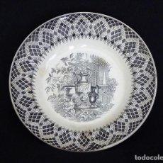 Antigüedades: PLATO DE CERCA DE CARTAGENA, ESTAMPADO CON ¨JARDÍN EUROPEO¨. . Lote 165617754