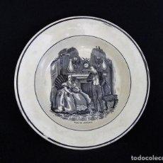Antigüedades: PLATO DE CERAMICA DE CARTAGENA ESTAMPADO CON ¨AMAR SIN RESULTADO¨.. Lote 165619622