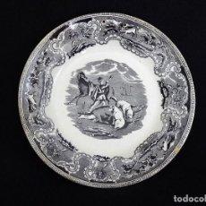 Antigüedades: PLATO LLANO (DOS UNIDADES), ESTAMPADO CON ¨LA LLAMADA¨.. Lote 165620430