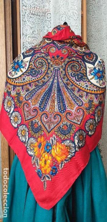 Antigüedades: mantón pañuelo indumentaria regional folclore - Foto 2 - 165621550