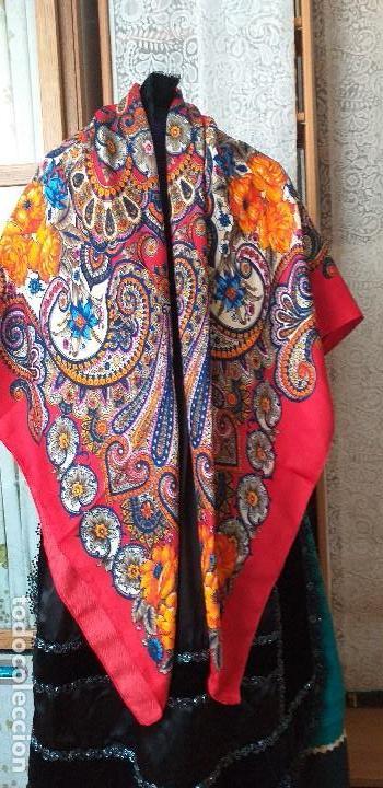 Antigüedades: mantón pañuelo indumentaria regional folclore - Foto 3 - 165621550