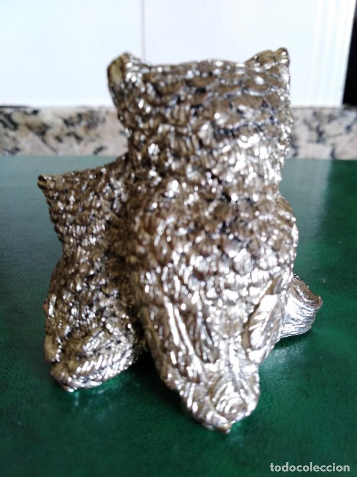 Antigüedades: Figura de búhos de la buena suerte en plata laminada - Foto 2 - 165627178