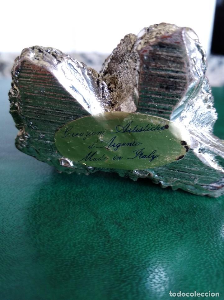 Antigüedades: Figura de búhos de la buena suerte en plata laminada - Foto 3 - 165627178