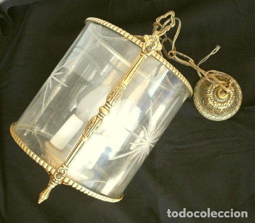 Antigüedades: FAROL LAMPARA TECHO BRONCE CILINDRICO CRISTAL TALLADO (AÑOS 60-70) ALTURA 38 CM - Foto 2 - 165384454