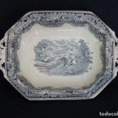 Antiquités: BASE DE LEGUMBRERA DE CERAMICA DE CARTAGENA, ESTAMPADA CON ¨FUEGO SOBRE TRES CIERVOS¨. . Lote 165657062
