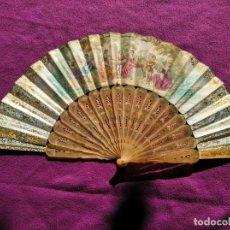Antigüedades: ABANICO SIGLO XIX CON VARILLAS DE CAREY.. Lote 165662814