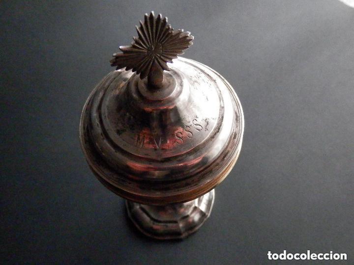 Antigüedades: IMPORTANTE COPÓN BARROCO DEL SIGLO XVIII CON INSCRIPCIONES Y ESCUDO ¡Ver fotos! - Foto 8 - 165664522