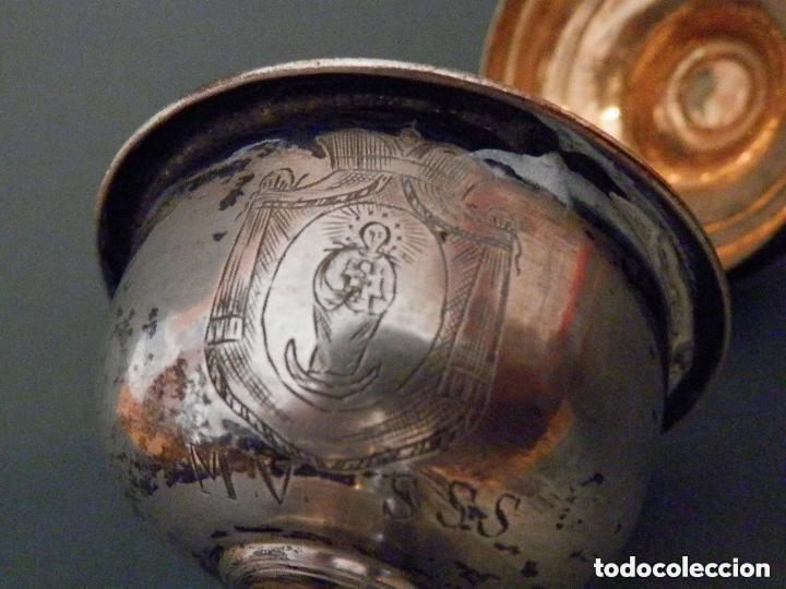 Antigüedades: IMPORTANTE COPÓN BARROCO DEL SIGLO XVIII CON INSCRIPCIONES Y ESCUDO ¡Ver fotos! - Foto 9 - 165664522
