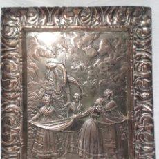 Antigüedades: EL PELELE, SEGÚN GOYA. PLACA DE COBRE PLATEADO. FIRMADA M. PALLARES. PRINCIPIOS DEL SIGLO XX.. Lote 165725332