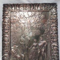 Antigüedades: LA MAJA Y LOS EMBOZADOS, SEGÚN GOYA. PLACA DE COBRE PLATEADO. FIRMADA M. PALLARÉS. PPS SIGLO XX.. Lote 165726757
