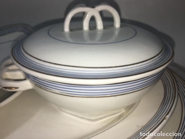 Antigüedades: Original antiguo Lote colección vajilla porcelana San Claudio - Foto 15 - 165732954