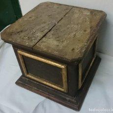 Antigüedades: ANTIGUA PEANA, MÉNSULA, PEDESTAL, COLUMNA DE MADERA PARA FIGURA. SIGLO XVII. 40X40X35. Lote 165742170