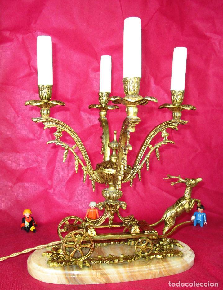 GRAN LAMPARA ANTIGUA BRONCE Y MARMOL CARROZA ROMANTICISMO (Antigüedades - Iluminación - Lámparas Antiguas)
