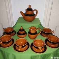 Antigüedades: JUEGO COMPLETO DE CAFÉ DE LA DESAPARECIDA FÁBRICA DE CERAMICA VALDEMORA ASTURIAS. Lote 165819988