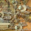 Antigüedades: IMPRESIONANTE Y ANTIGUO CANDELABRO BRONCE Y CRISTAL DE ROCA 43 CMS . Lote 165837050