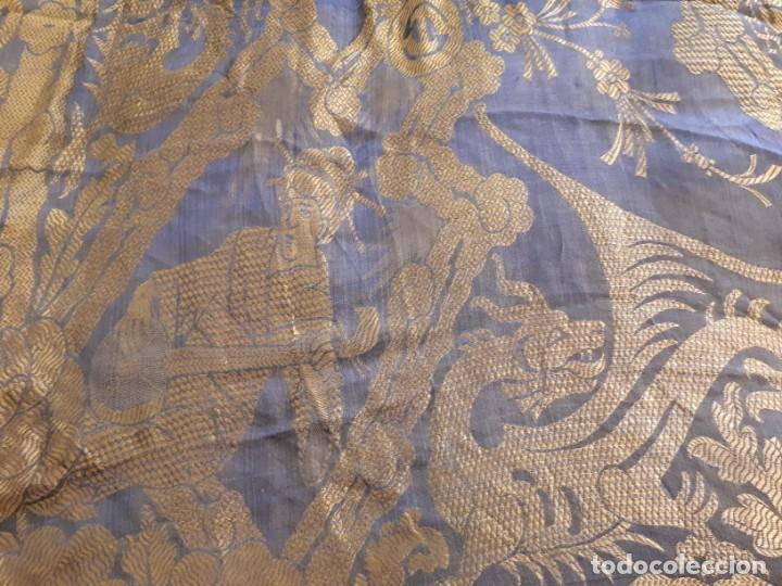 Antigüedades: Colcha antigua sedina chinesca. - Foto 12 - 165850110