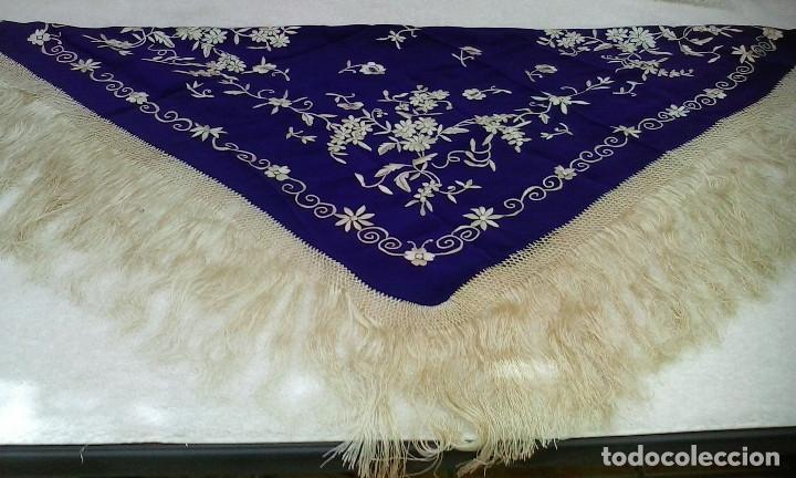 Antigüedades: Mantón de manila azul - Foto 3 - 165863722
