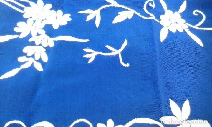 Antigüedades: Mantón de manila azul - Foto 4 - 165863722