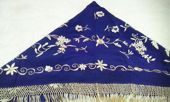 Antigüedades: Mantón de manila azul - Foto 5 - 165863722