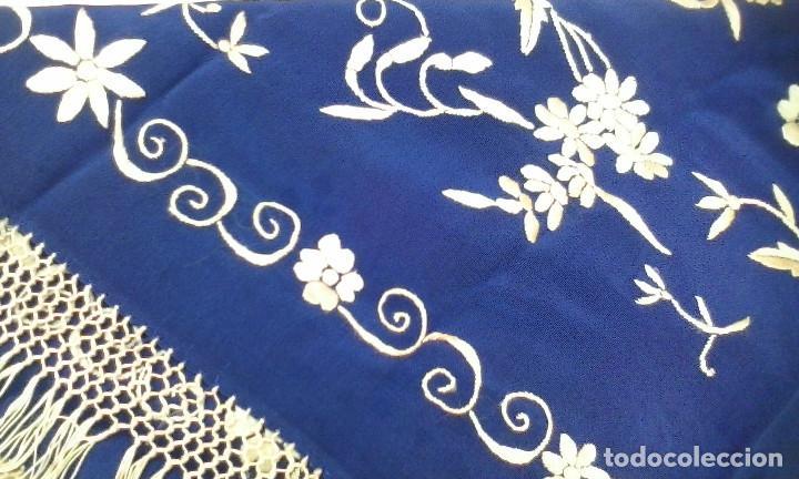 Antigüedades: Mantón de manila azul - Foto 6 - 165863722