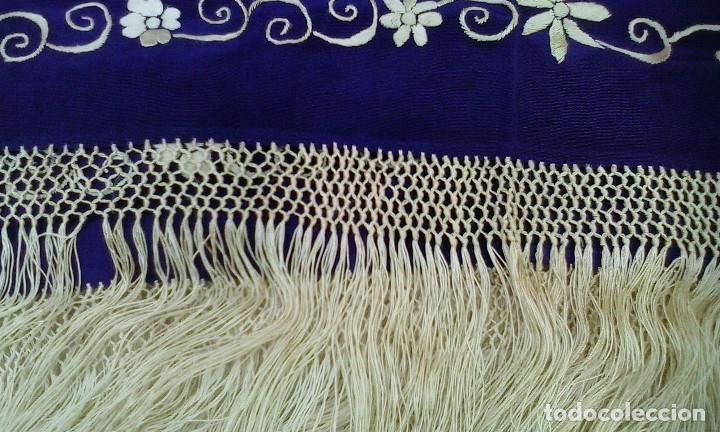 Antigüedades: Mantón de manila azul - Foto 7 - 165863722
