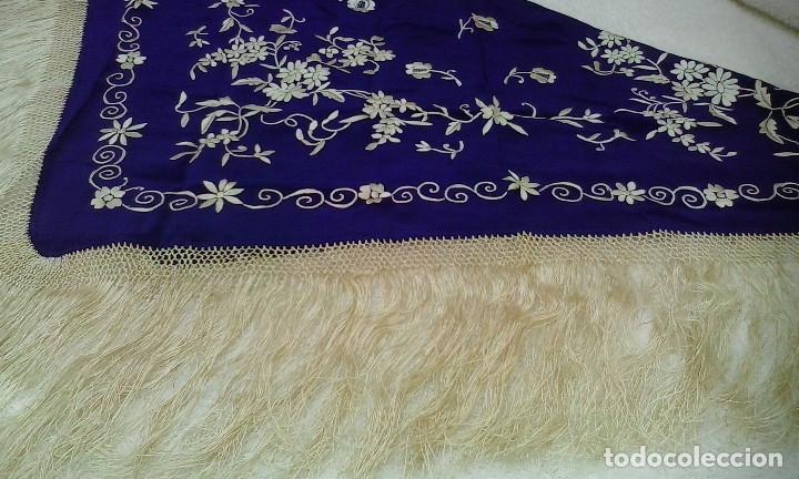 Antigüedades: Mantón de manila azul - Foto 8 - 165863722