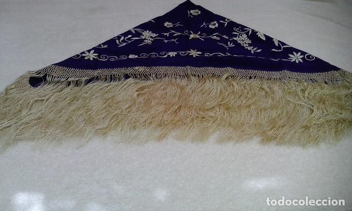 Antigüedades: Mantón de manila azul - Foto 9 - 165863722