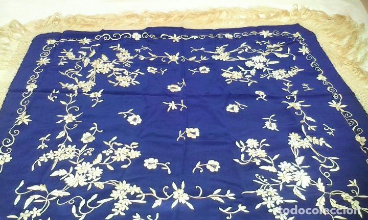 Antigüedades: Mantón de manila azul - Foto 10 - 165863722