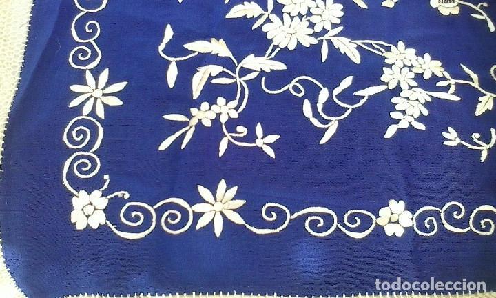 Antigüedades: Mantón de manila azul - Foto 11 - 165863722