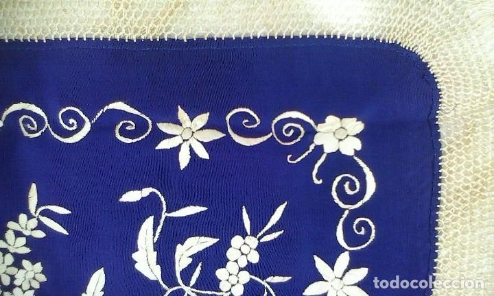 Antigüedades: Mantón de manila azul - Foto 12 - 165863722