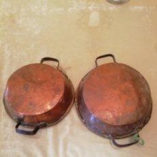 Antigüedades: 2 PEROLES MUY ANTIGUOS DE COBRE. Lote 165867469