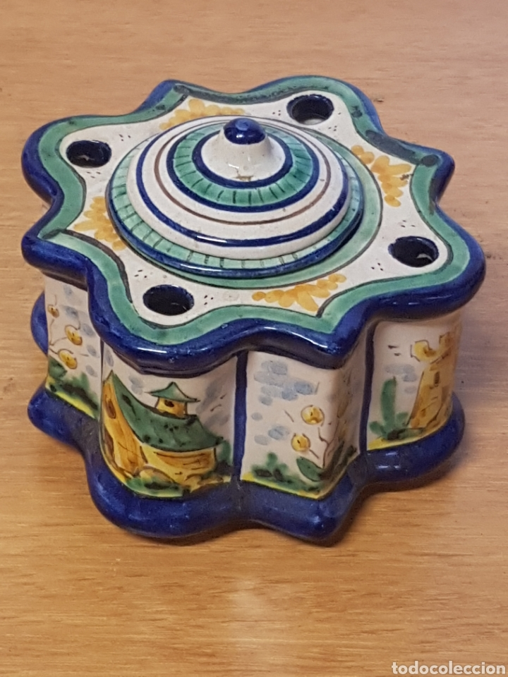 TINTERO ALFARERIA POPULAR TALLER ROCIO TRIANA ESCRIBANIA CERAMICA ( COMPLETO ) (Antigüedades - Porcelanas y Cerámicas - Triana)