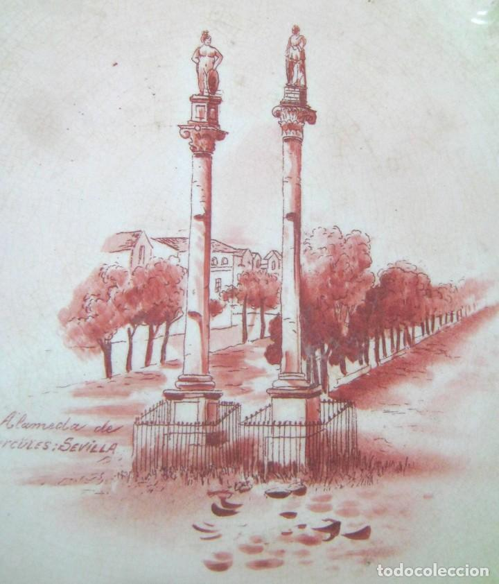 Antigüedades: Lote 3 antiguos platos modernistas con vistas de Sevilla - Pasarela Alameda Hercules Puente Triana - Foto 10 - 165885706