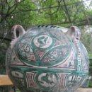 Antigüedades: ORZA GIGANTE . ANTIGUA CERÁMICA ARAGONESA ESMALTADA . CANTARO CUATRO ASAS. Lote 165888918