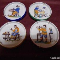 Antigüedades: MAGNIFICOS CUATRO PLATOS EN PORCELANA ESCENAS DE OFICIOS PINTADOS A MANO. Lote 165891634