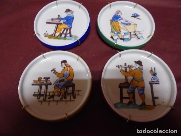Antigüedades: magnificos cuatro platos en porcelana escenas de oficios pintados a mano - Foto 2 - 165891634