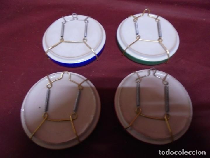 Antigüedades: magnificos cuatro platos en porcelana escenas de oficios pintados a mano - Foto 3 - 165891634
