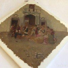 Antigüedades: PAREJA AZULEJOS PICKMAN Y CIA CHINA OPACA GRAN MEDALLA DE ORO PARIS 1878 PINTADOS POR LAUREL SEVILLA. Lote 165897758