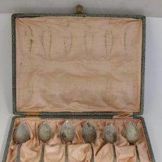 Antigüedades: JUEGO DE 6 CUCHARAS ANTIGUAS EN PLATA MACIZA DE LEY 925MILESIMAS. Lote 176037434