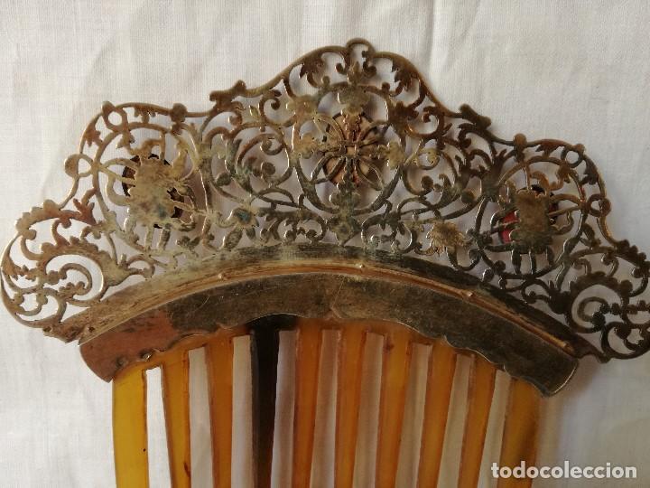 Antigüedades: IMPORTANTE PEINETA ISABELINA EN PLATA Y CAMAFEOS DE CORAL MEDITERRANEO. SIGLO XIX. - Foto 4 - 165923370