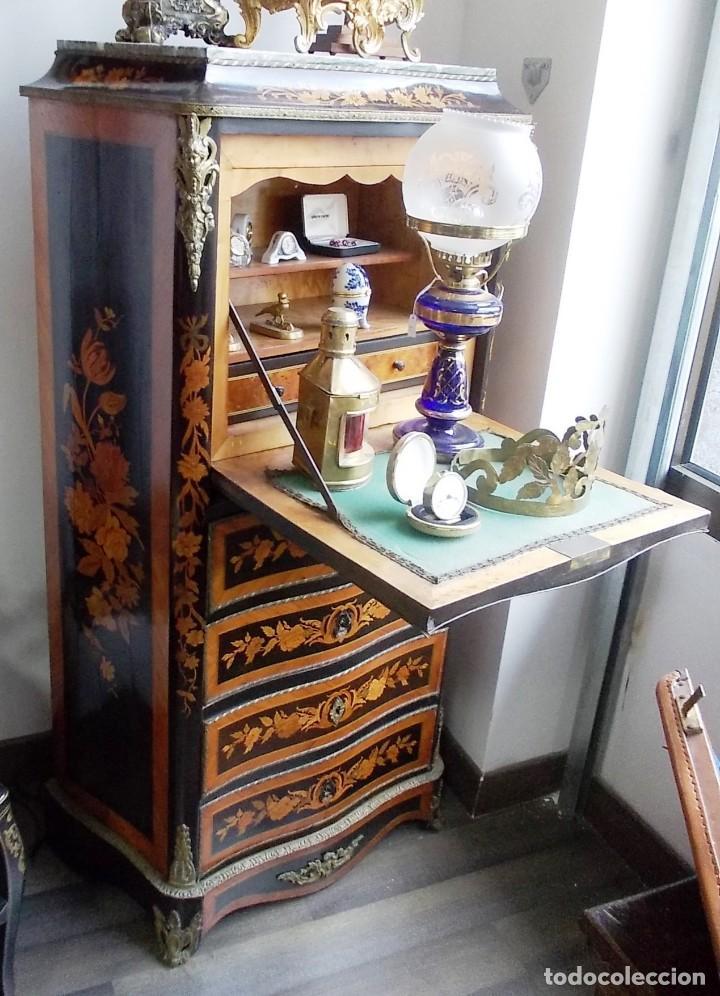 ANTIGUO SECRETER SIFONIER FRANCES CON MAGNIFICA MARQUETERIA Y DETALLES BRONCE (Antigüedades - Muebles Antiguos - Auxiliares Antiguos)